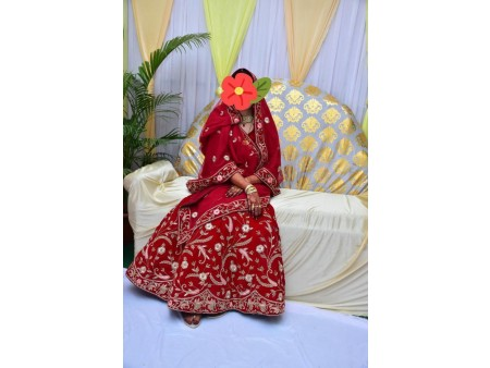 Designer Red Velvet Bridal Lehenga