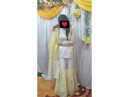 White & Yellow Sharara Suit
